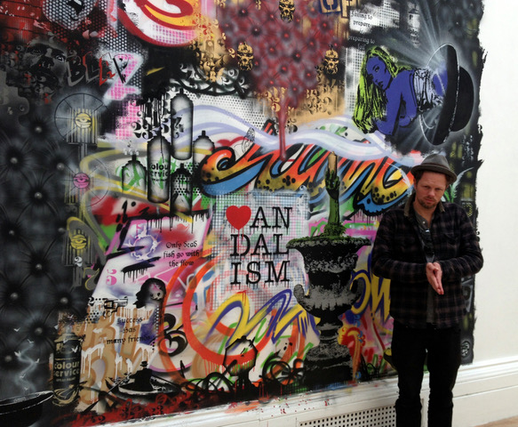 Nick Walker with his mural at Crimes of Passion by RWA